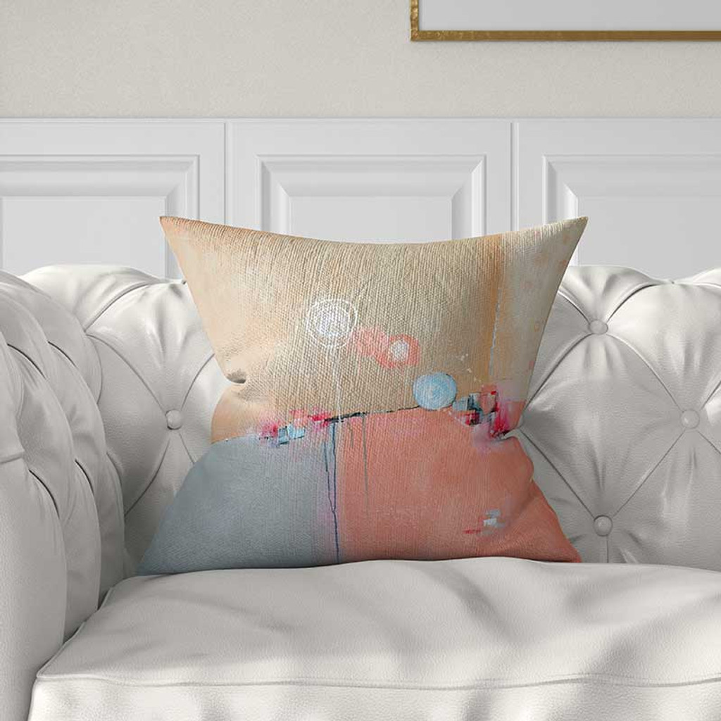 abstract art pillow cover in pink and blue