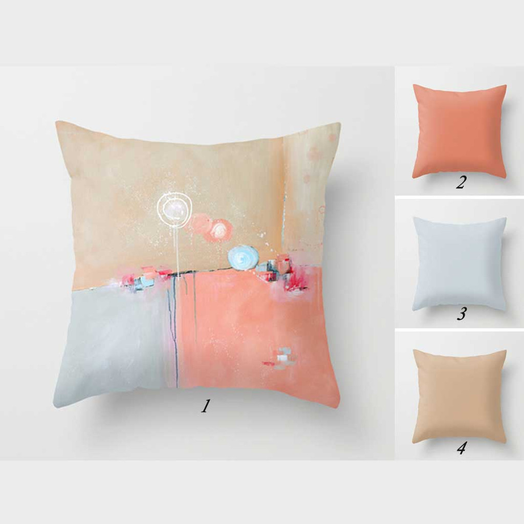 whimsical abstract throw pillow in pink, blue and beige