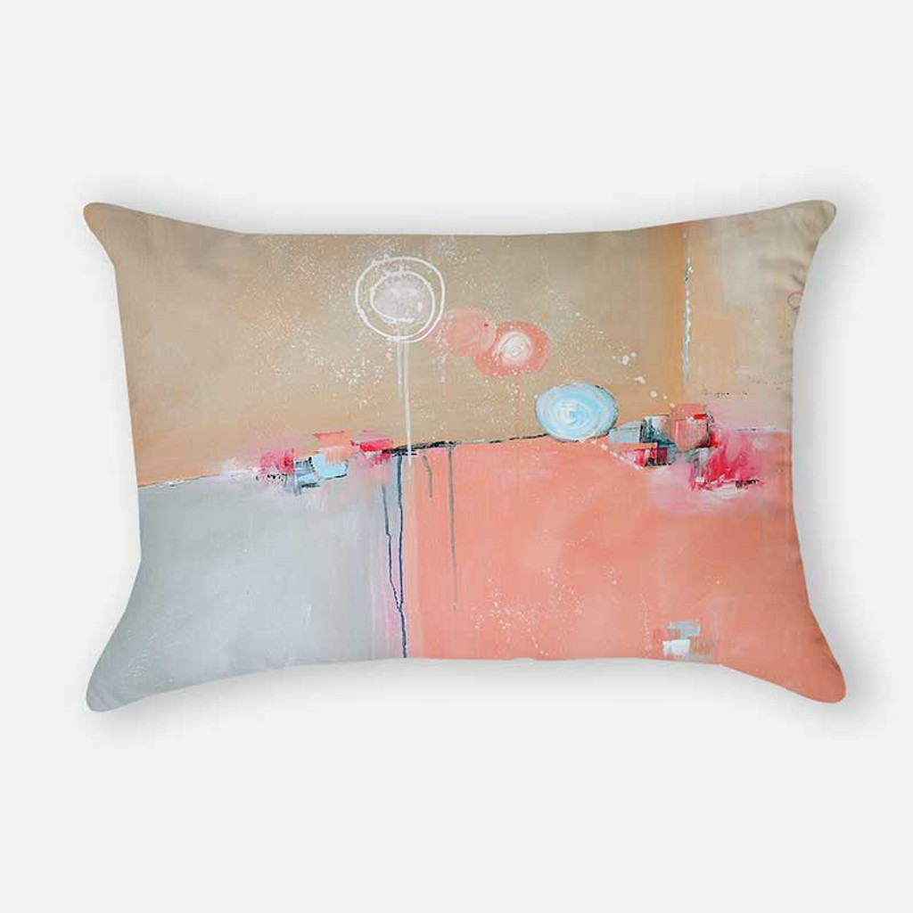 lumbar rectangular pillow with abstract pattern in blue and pink