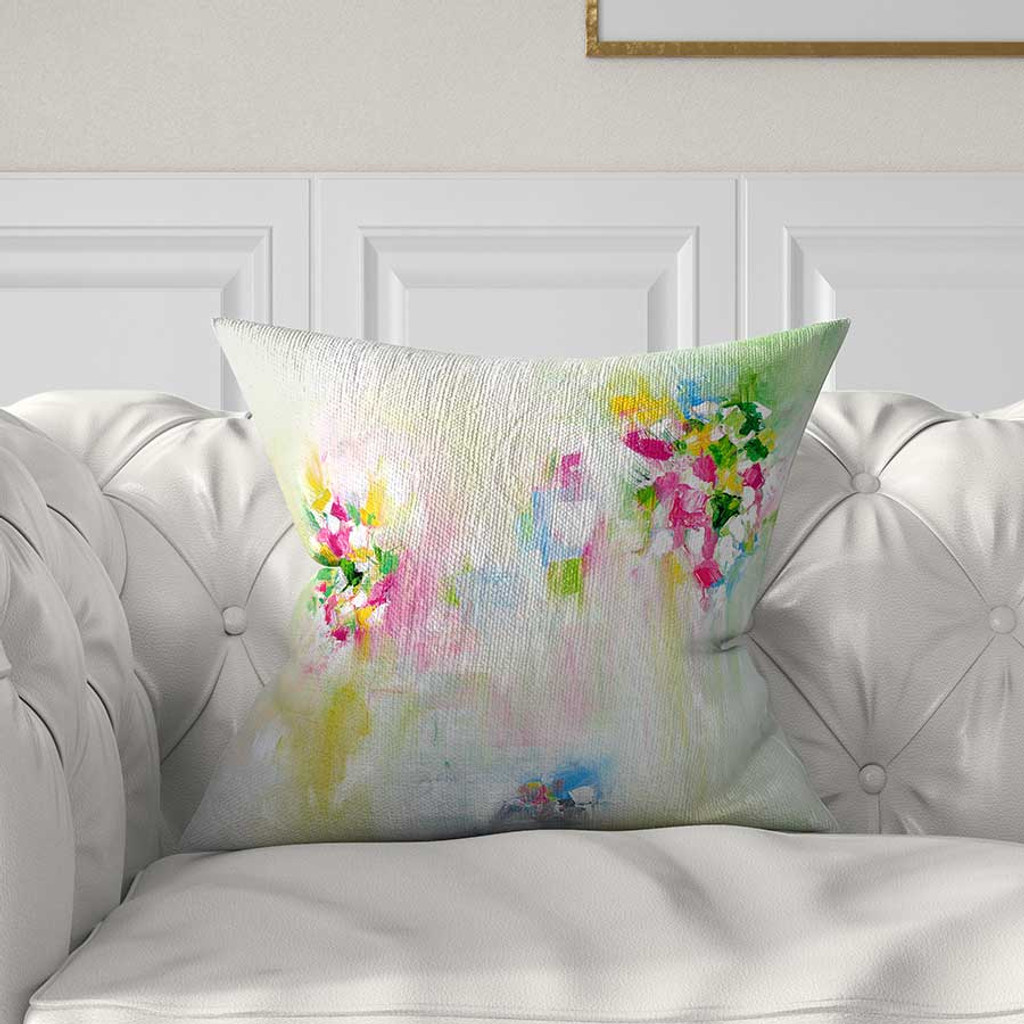 abstract pillow, floral pillow, pink, yellow, green, white