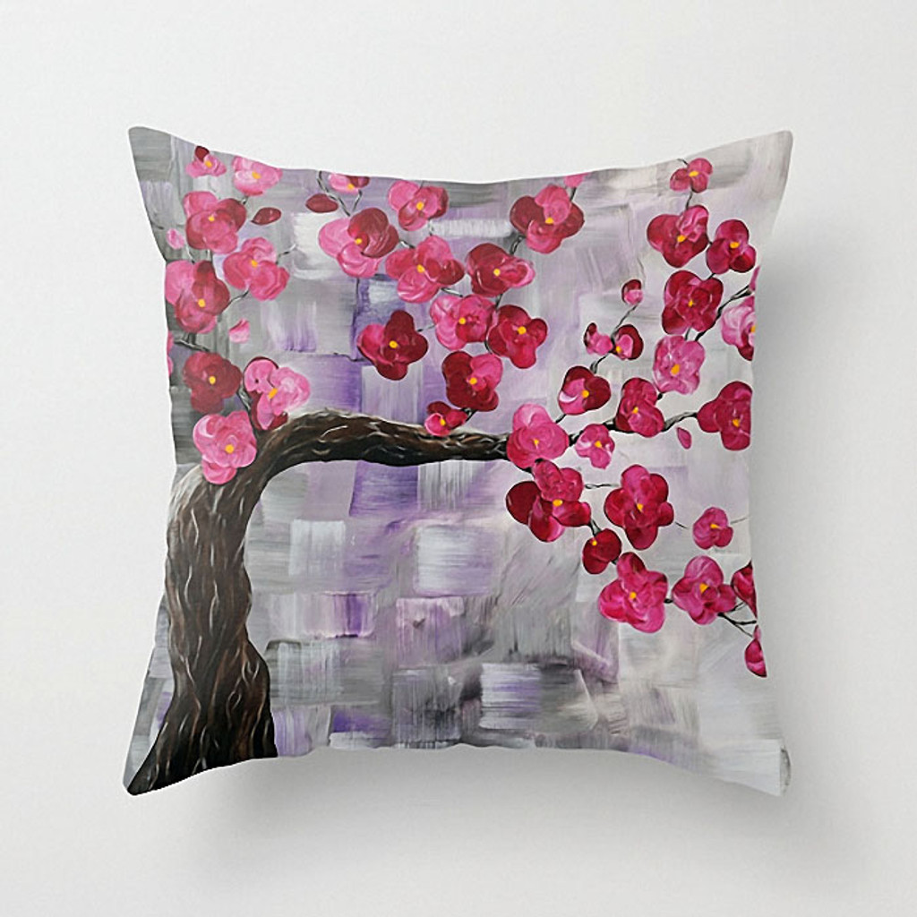 floral throw pillow, decorative pillow cover, pink, gray