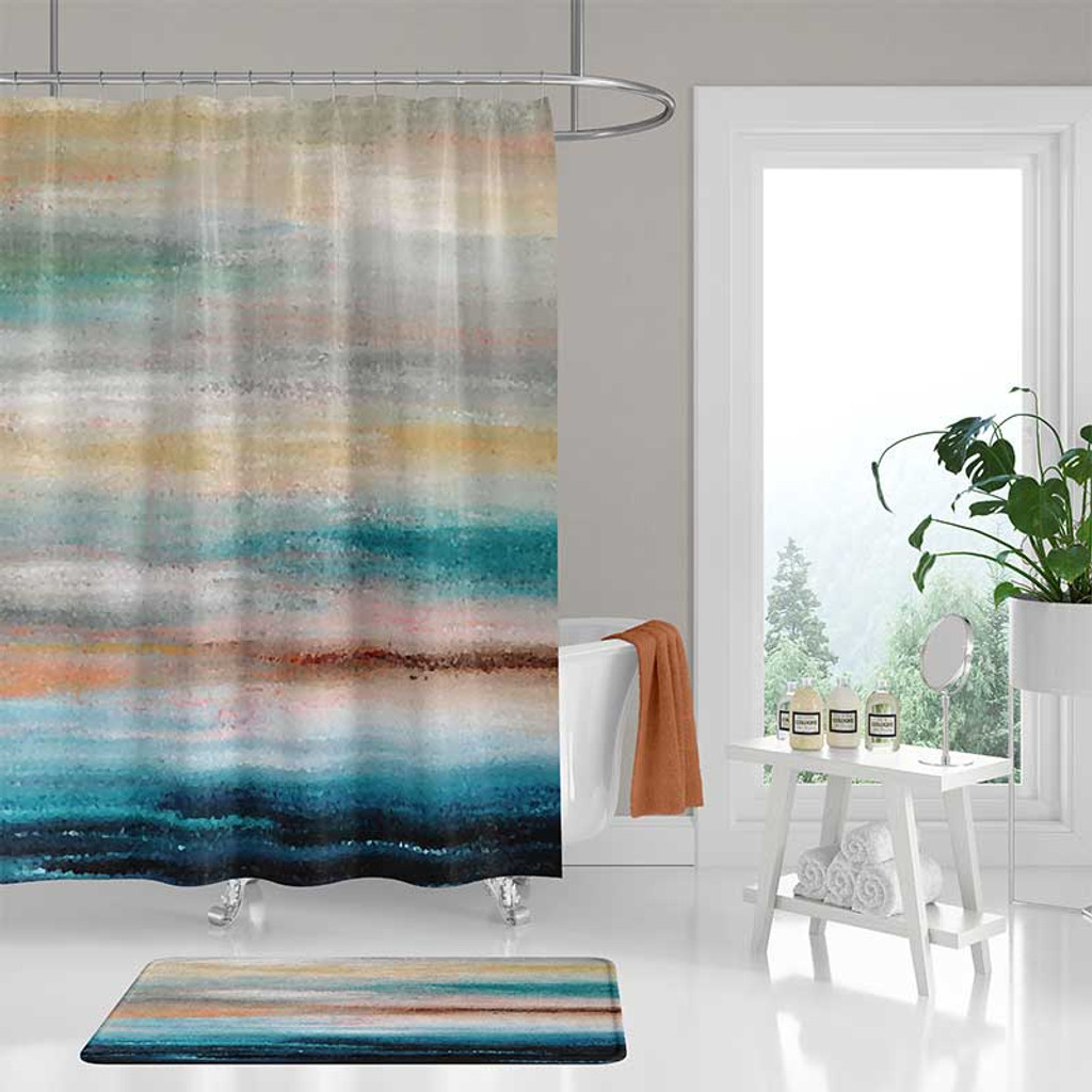 Phenomenal Abstract Shower Curtain And Bath Rug Coastal Decor Teal Gray Home Remodeling Inspirations Cosmcuboardxyz