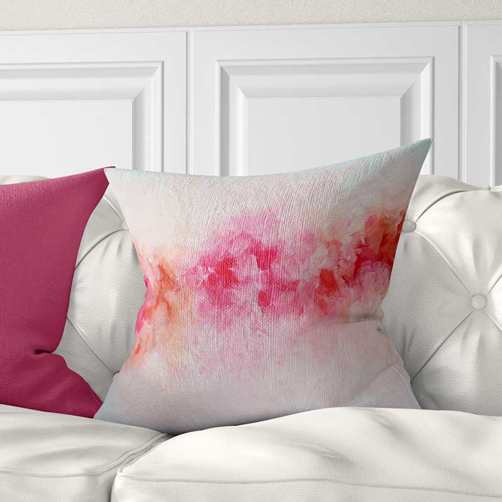 abstract floral pillow cover with peony flowers design