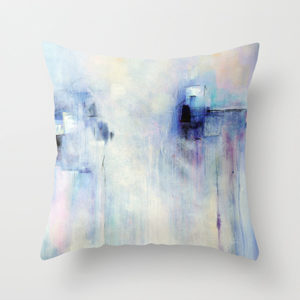 lavender, blue and white decorative pillow with abstract design