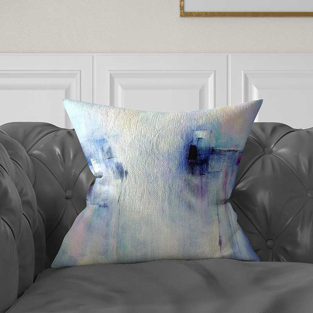 abstract decorative pillow in blue and purple by Julia Bars