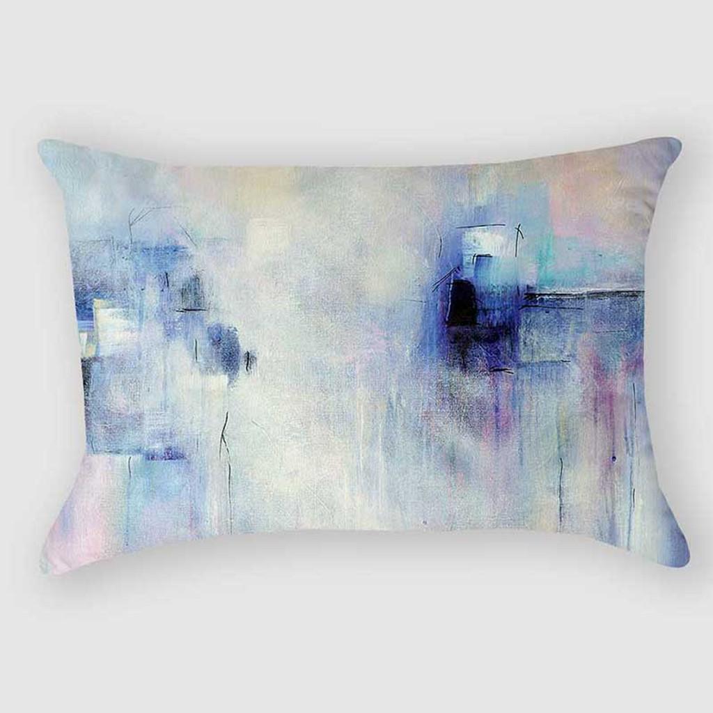 blue and purple lumbar pillow, art pillow by Julia Bars