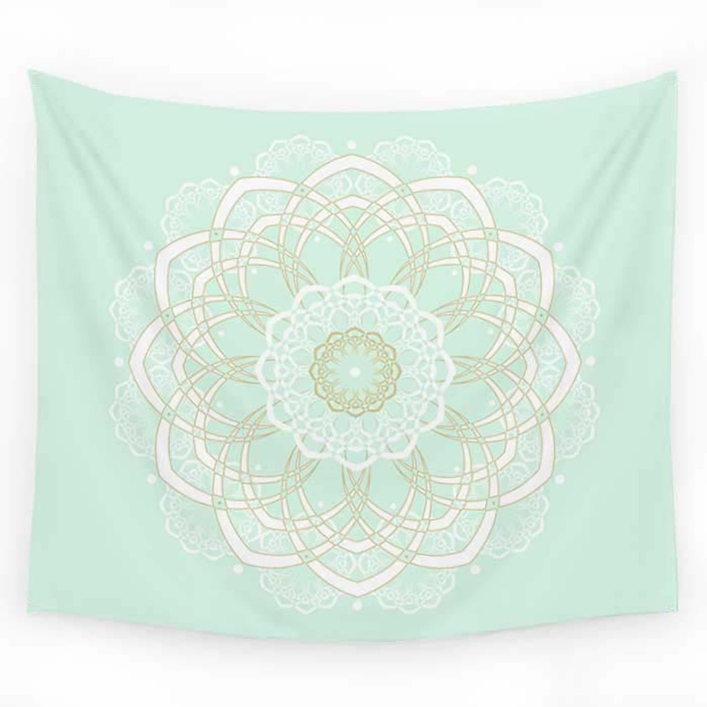 Mint and Gold Wall Tapestry with Mandala Design