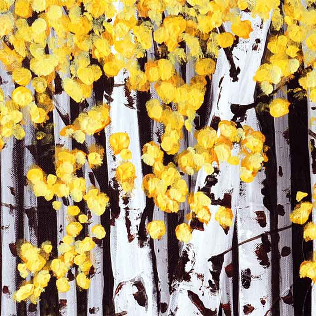 close up image of the original acrylic painting of aspen trees