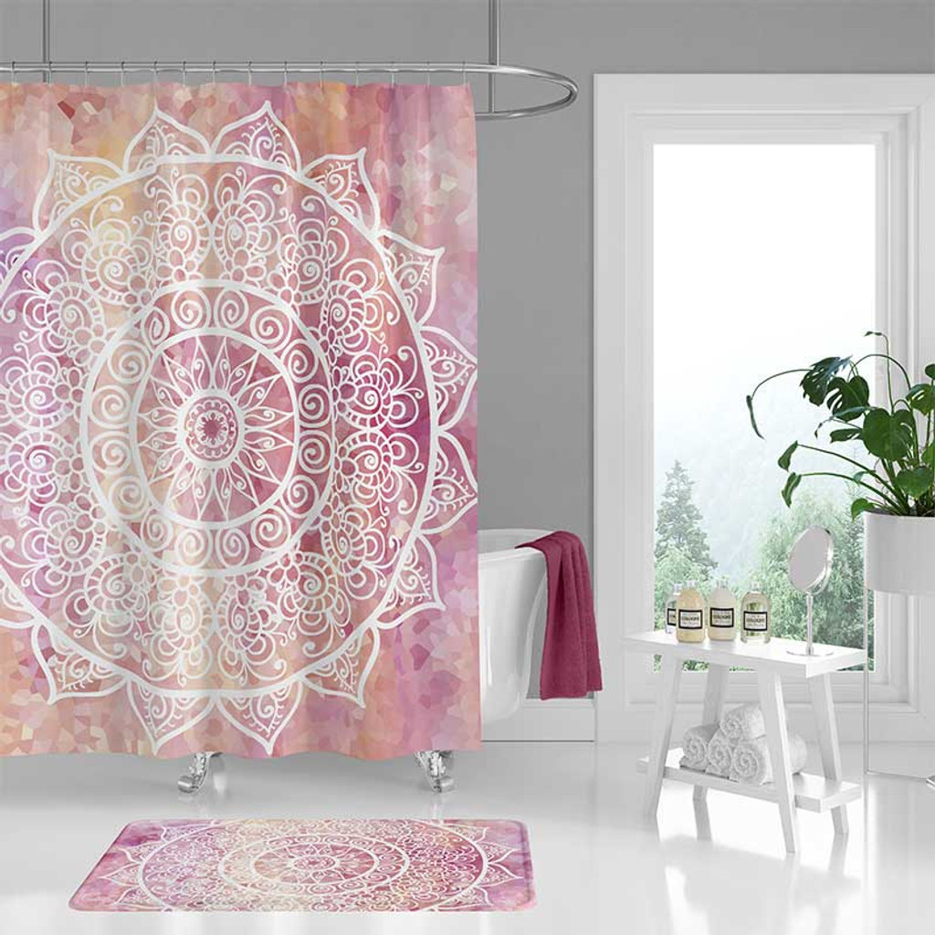 bohemian pink and white shower curtain and bath mat with mandala