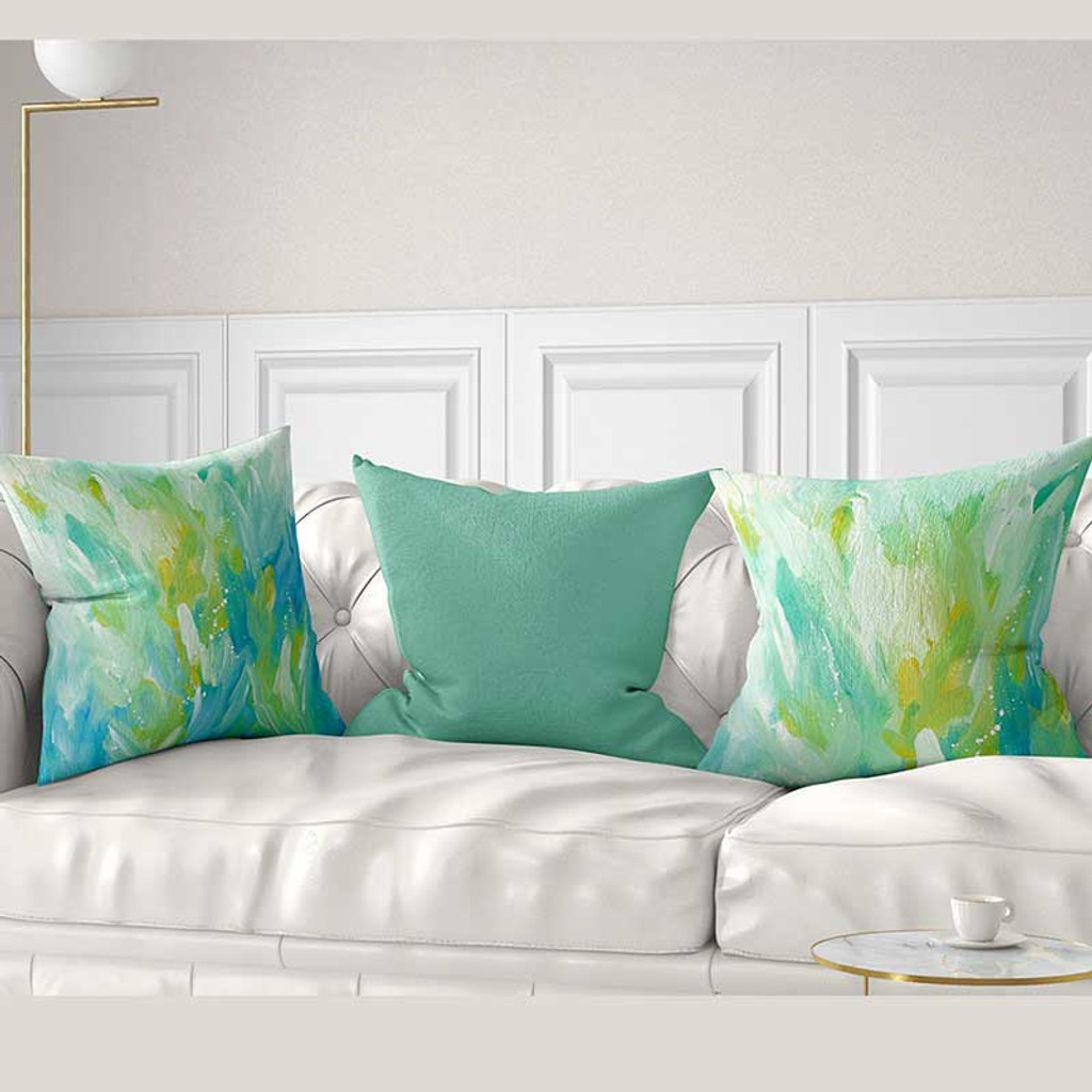 Mint Green Blue Yellow Throw Pillow Covers Abstract Art Cushions