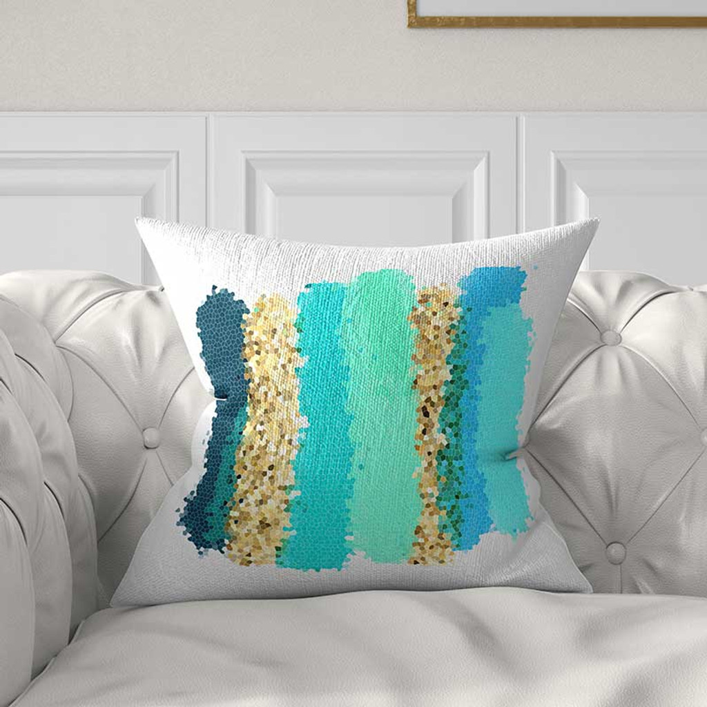 color field throw pillow in blue, teal and aqua