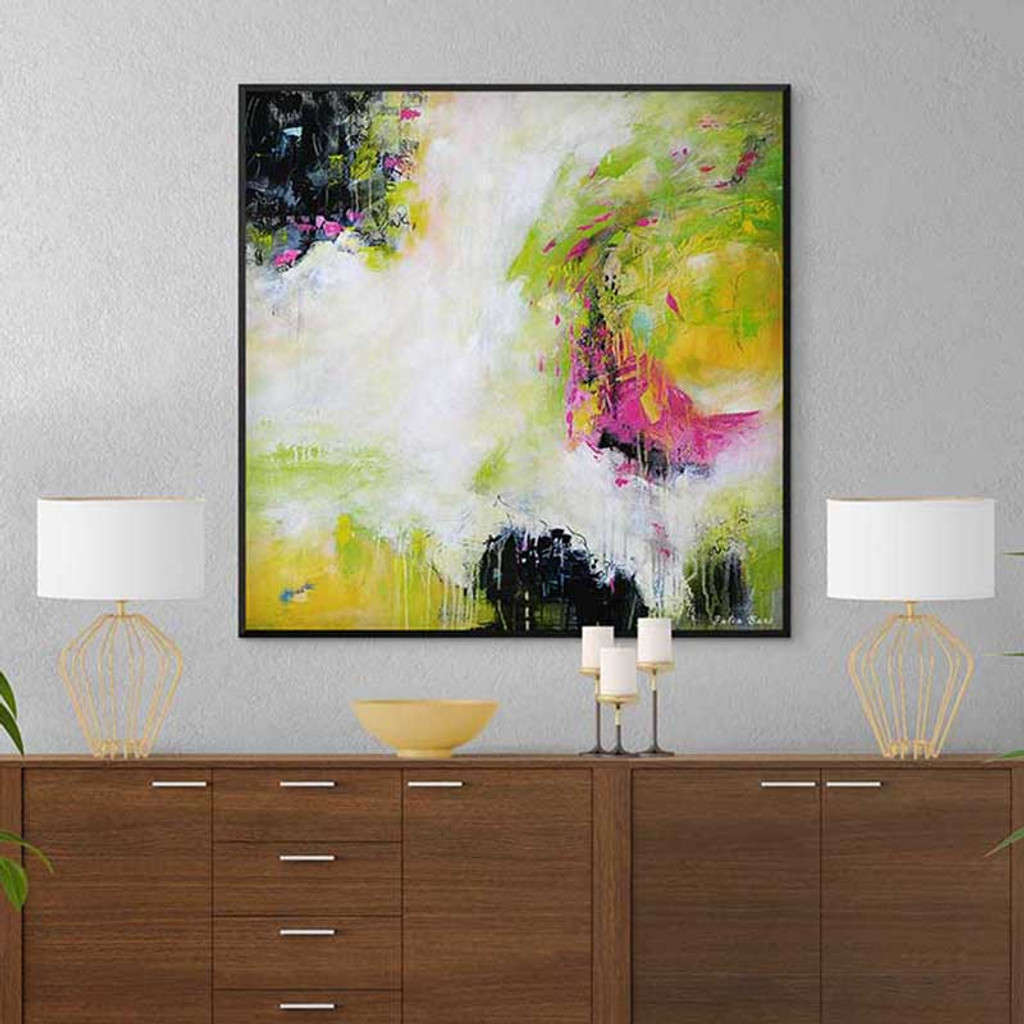 black, white and pink abstract art print in a frame
