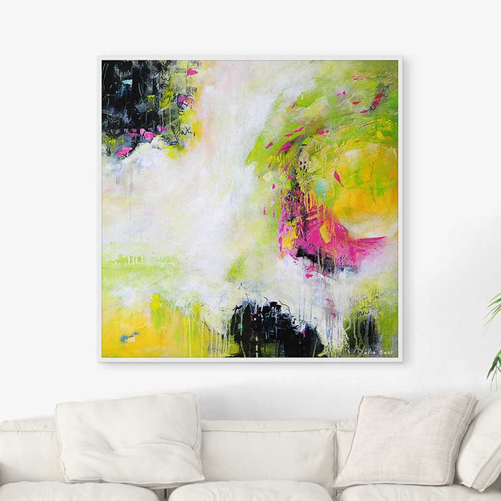 abstract canvas art, colorful large painting in white, black, pink and green