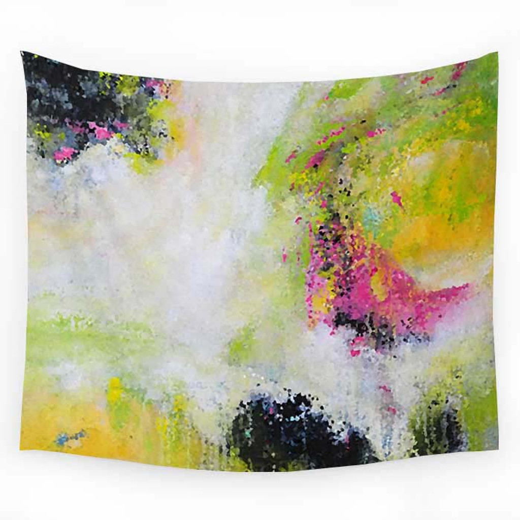 Wall decor, tapestry in green, yellow, pink and black
