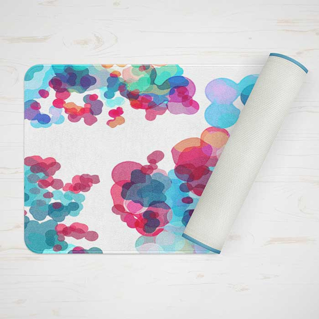 bath mat with watercolor design