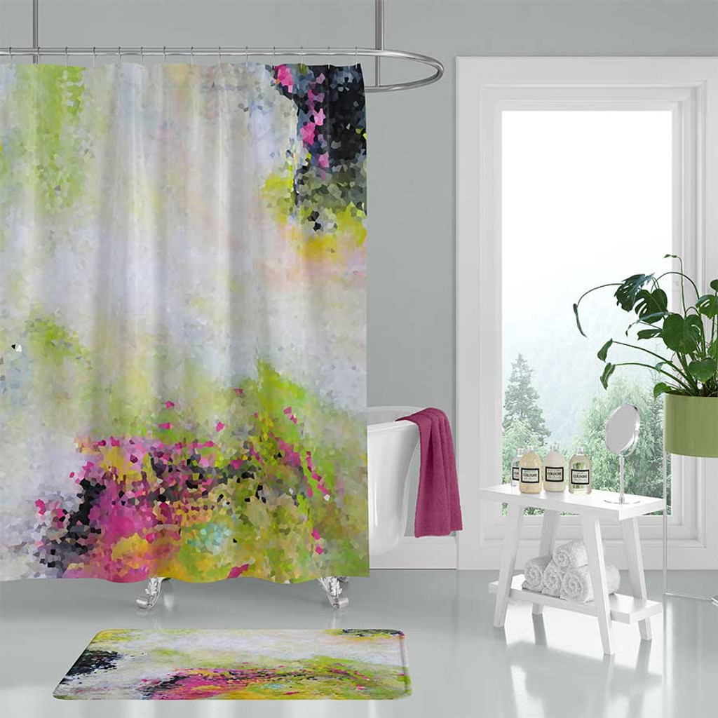 Abstract Art Shower Curtain Pink Black Green Click Here To Enlarge