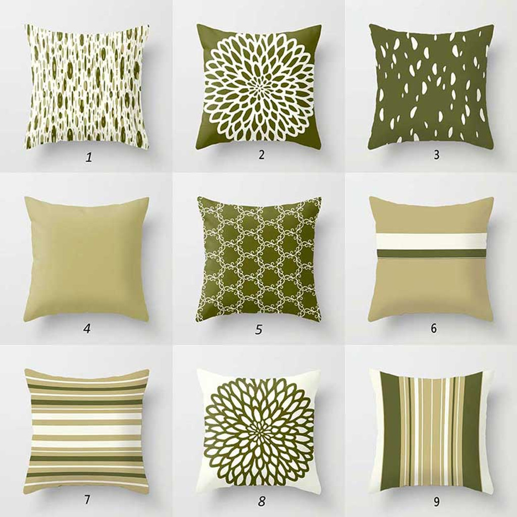 Throw Pillow Covers With Geometric Design Toss Pillows Green Cream