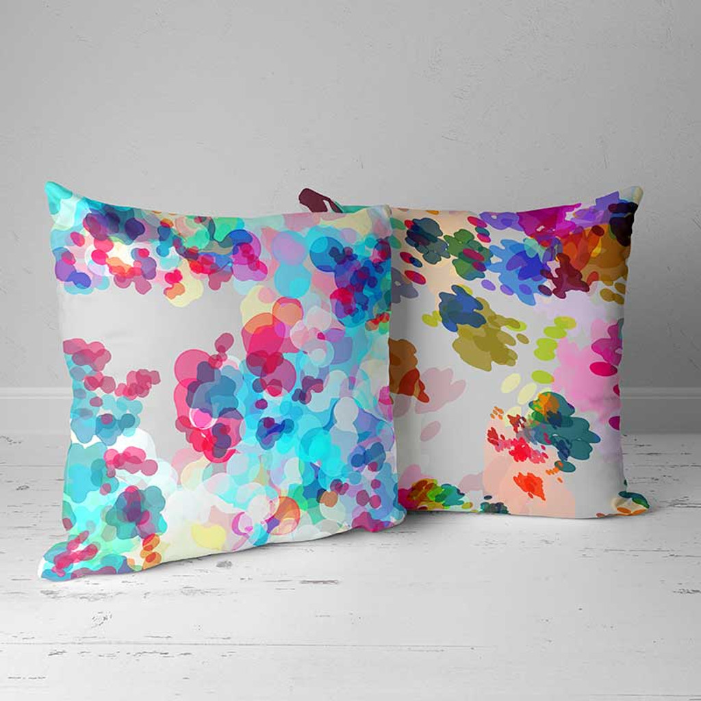 Watercolor Throw Pillows, Decorative Pillows, Blue, Pink, Yellow