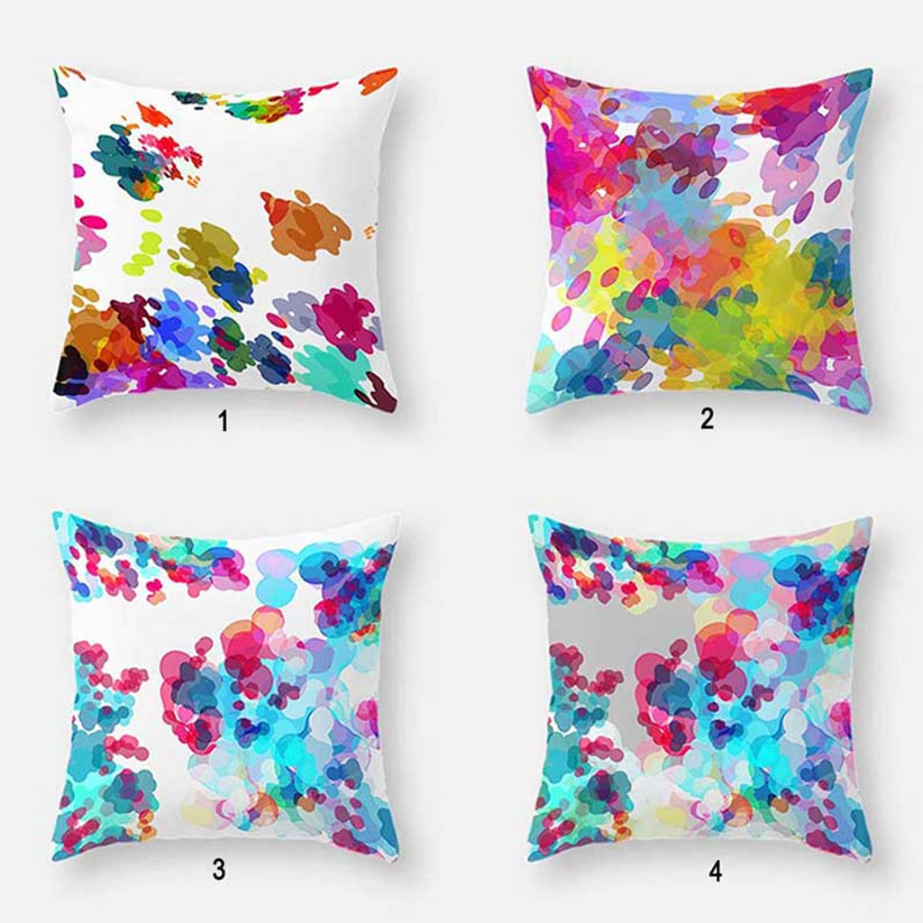watercolor pillows with abstract art design in purple, blue and white
