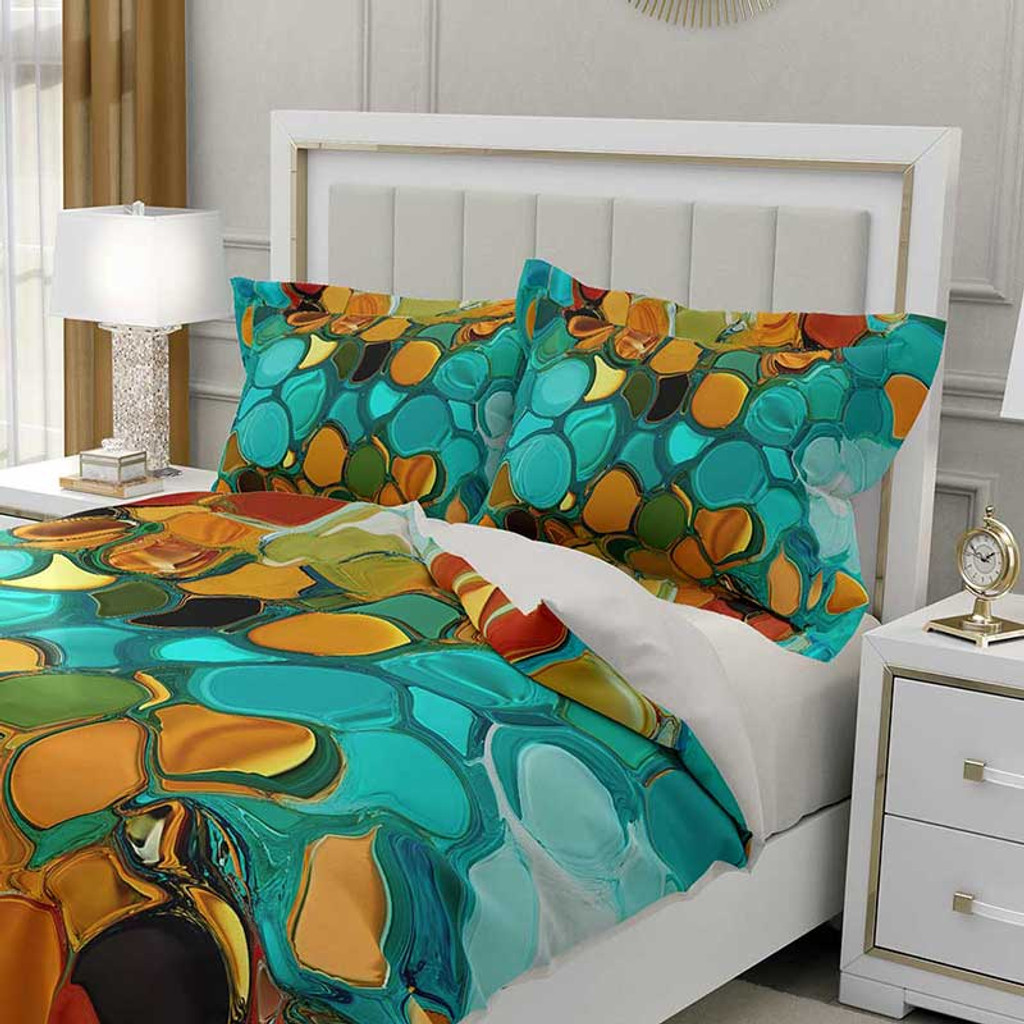 abstract comforter cover in teal and orange by Julia Bars