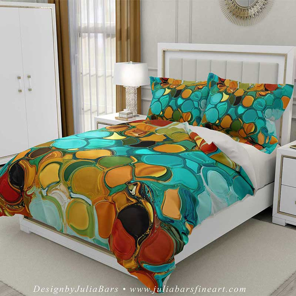 colorful modern duvet cover, abstract design by Julia Bars