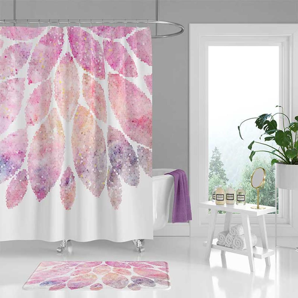 Shower Curtain Set Bath Mat Pink White Bathroom Decor