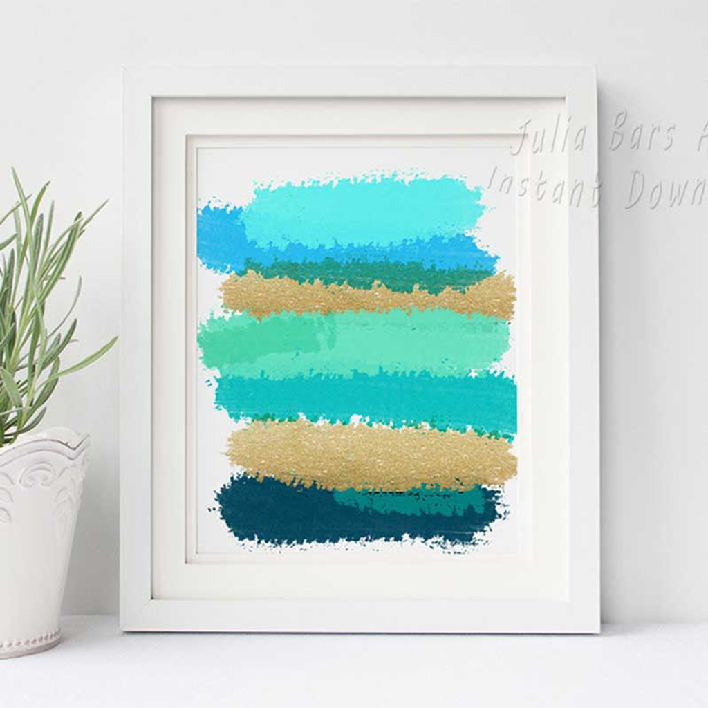 Set of 3 Prints Grey and Black Turquoise Instant Download Abstract Printable Art
