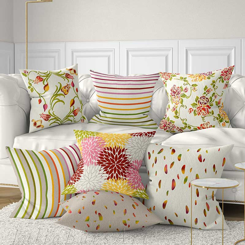 Floral Pillow Covers Colorful Cushions Red Yellow Purple