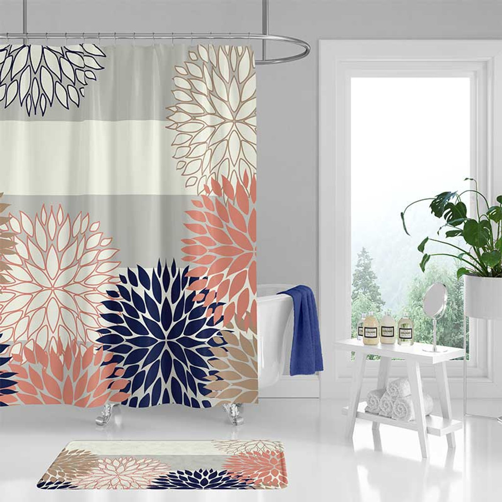 Floral Bathroom Curtain Gray Blue And Pink Shower Curtain And Bath Mat