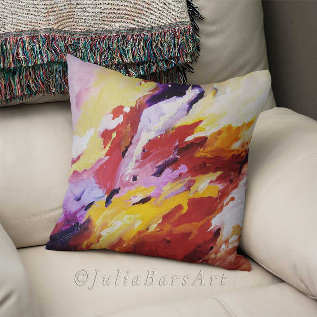 couch pillow, abstract art pillow, throw pillow cover in red, purple and yellow