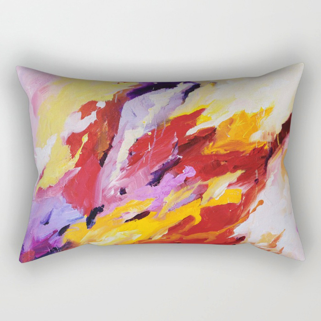 lumbar pillow with abstract art