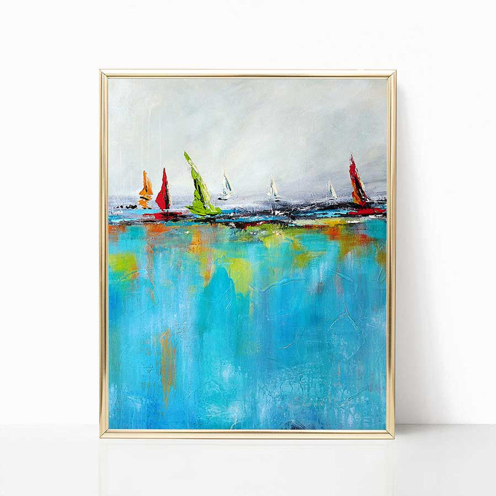 abstract yacht painting by Julia Bars
