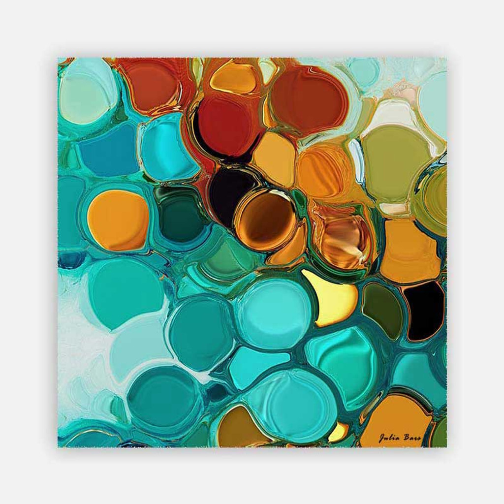 colorful abstract art print, teal, green, orange