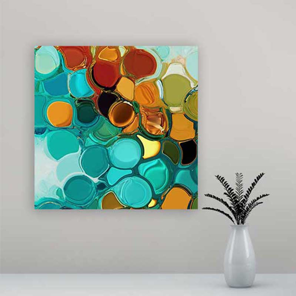 modern abstract wall art, blue orange