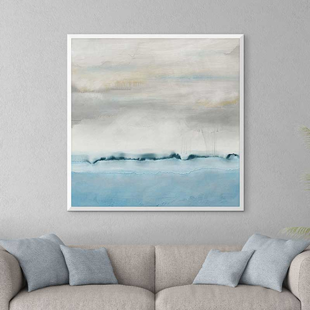 modern art print in pale blue and neutral gray, coastal art by Julia Bars