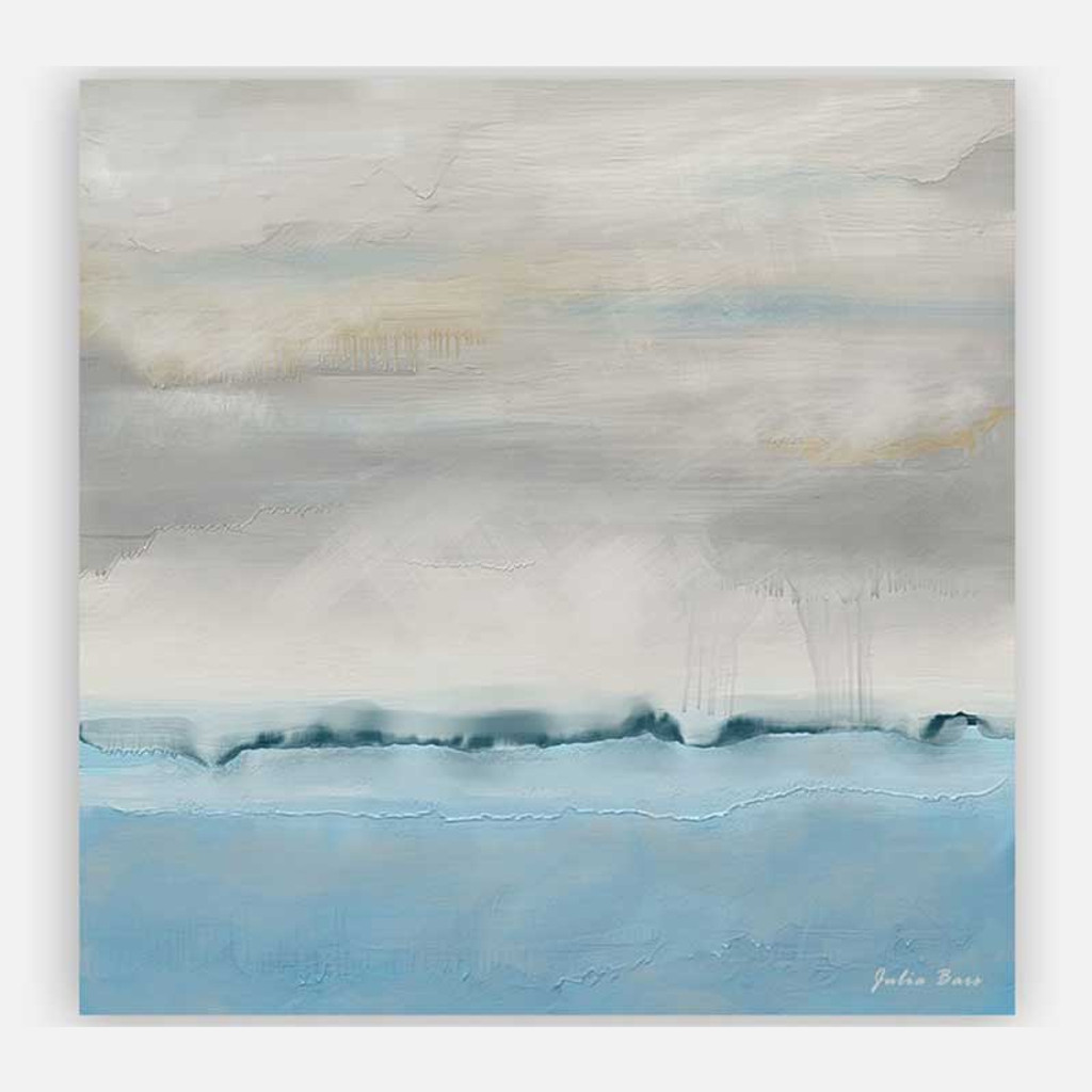 Abstract seascape wall art in blue and gray, large art print