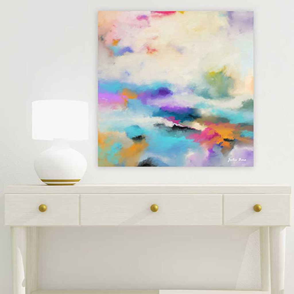 Large abstract painting in purple, pink, blue and orange