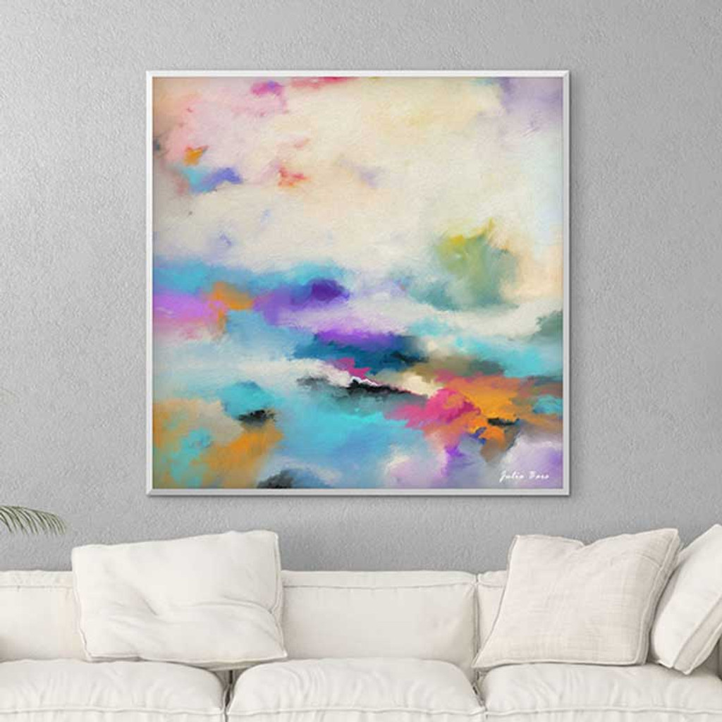 Large abstract giclee print, blue orange painting by Julia Bars