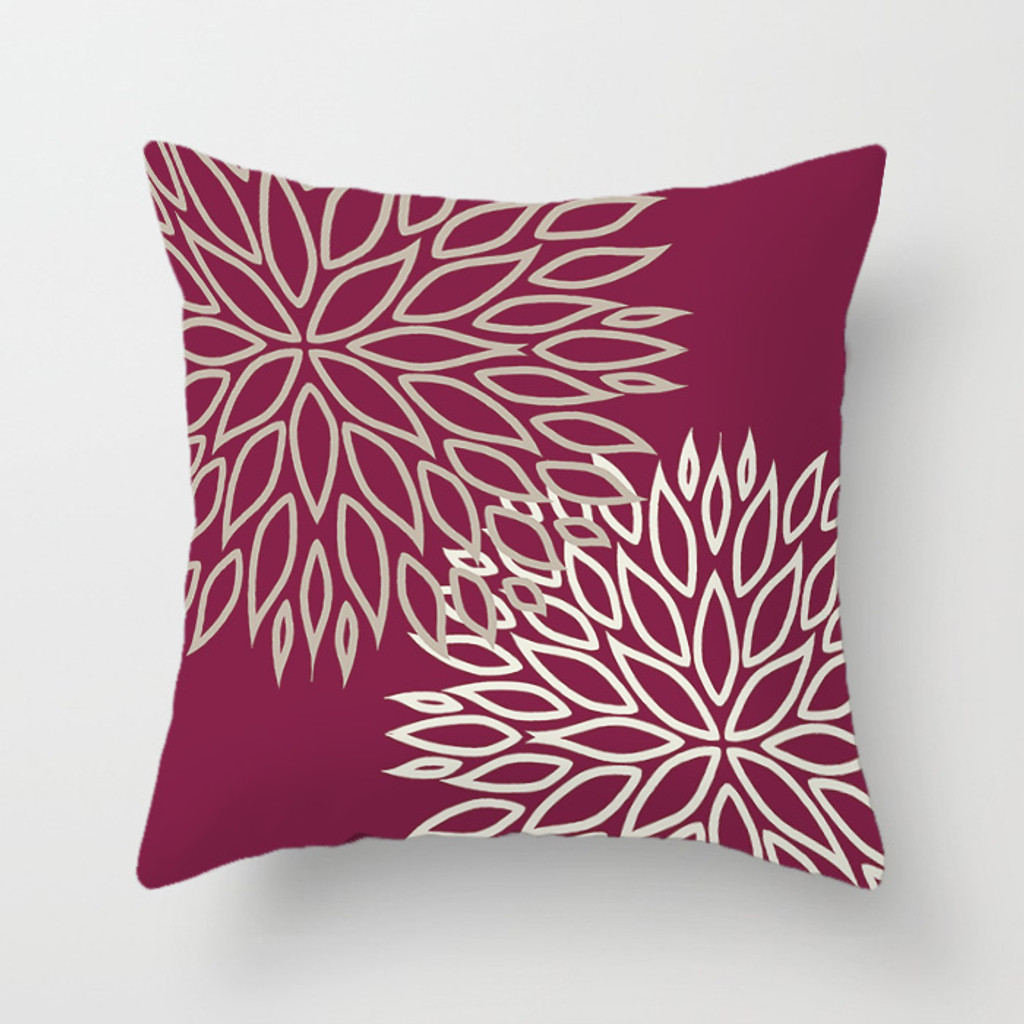 floral throw pillow, wine and white