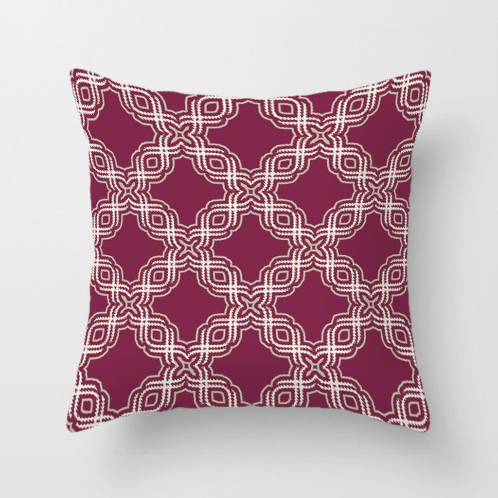 geometric cushion cover, magenta, purple, beige