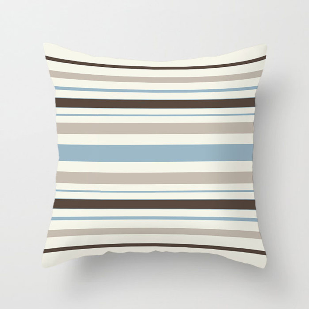striped throw pillow in beige, brow and blue