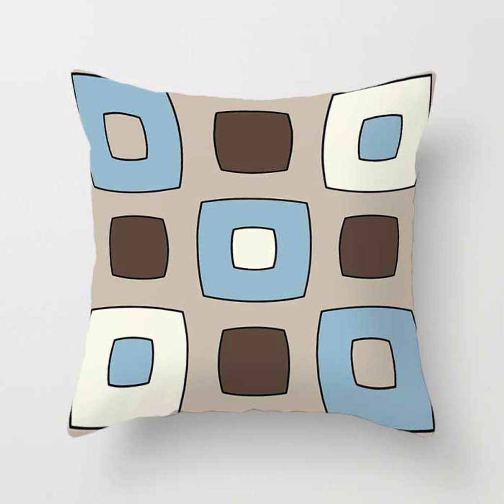 beige, brown and blue decorative pillow with squares pattern