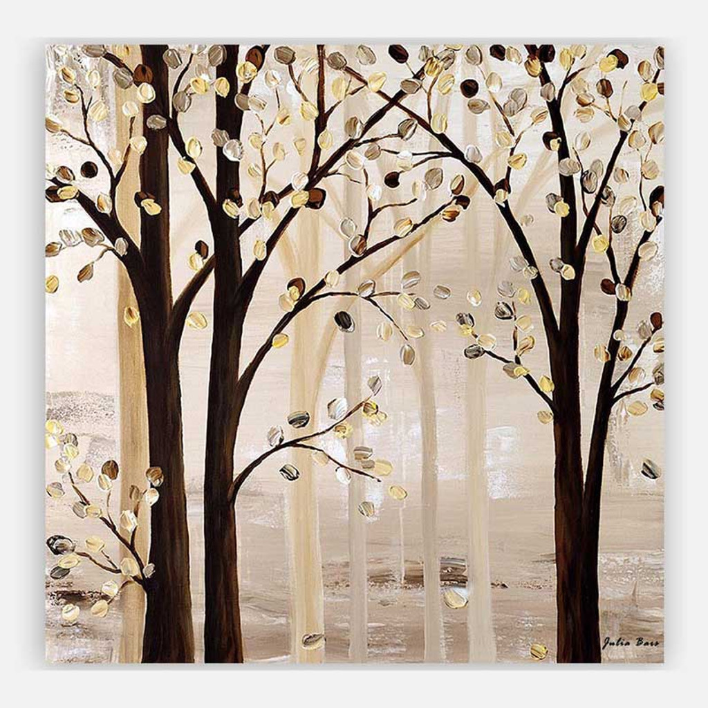abstract tree painting by Julia Bars, brown and beige wall art