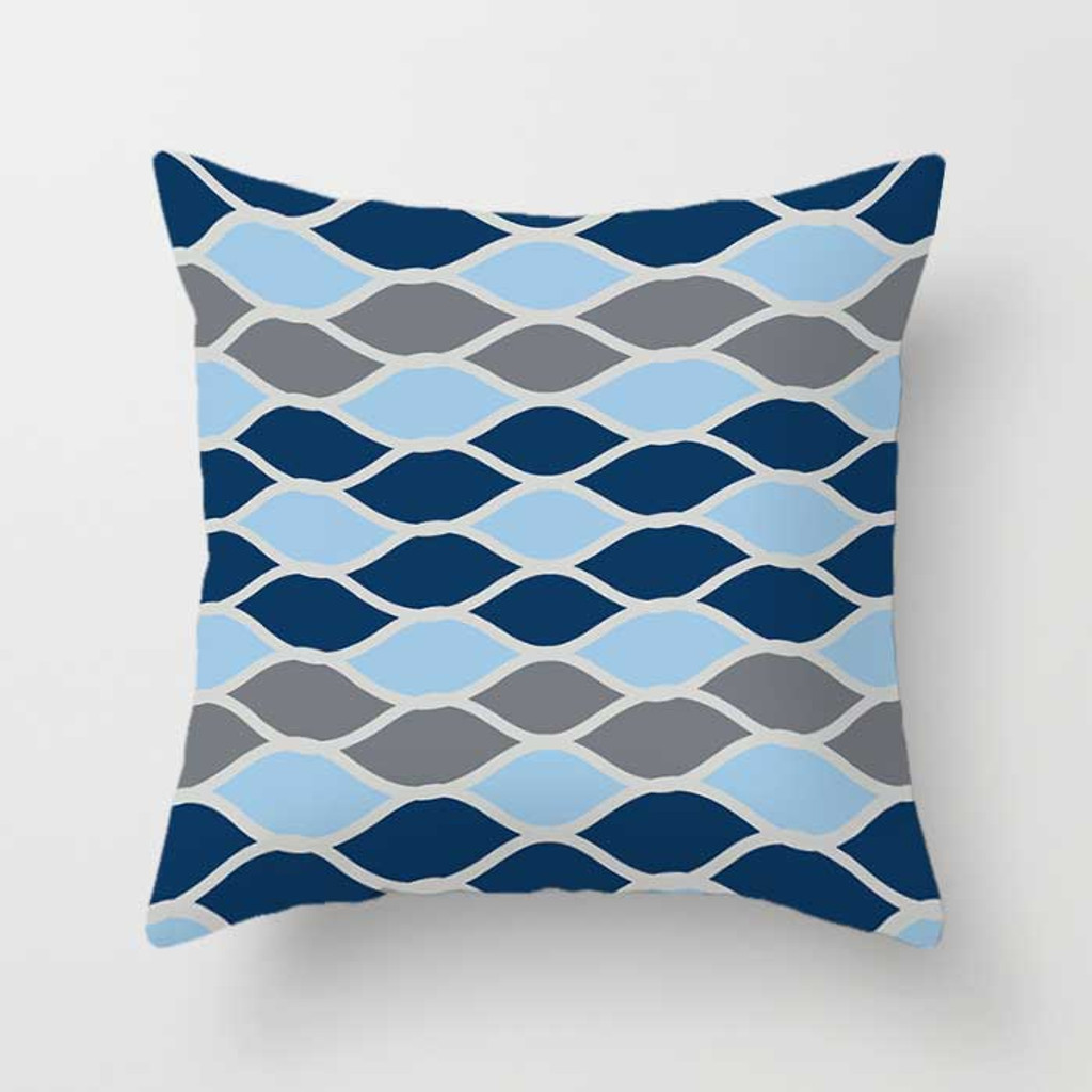 designer decorative pillow in dark blue, blue and gray