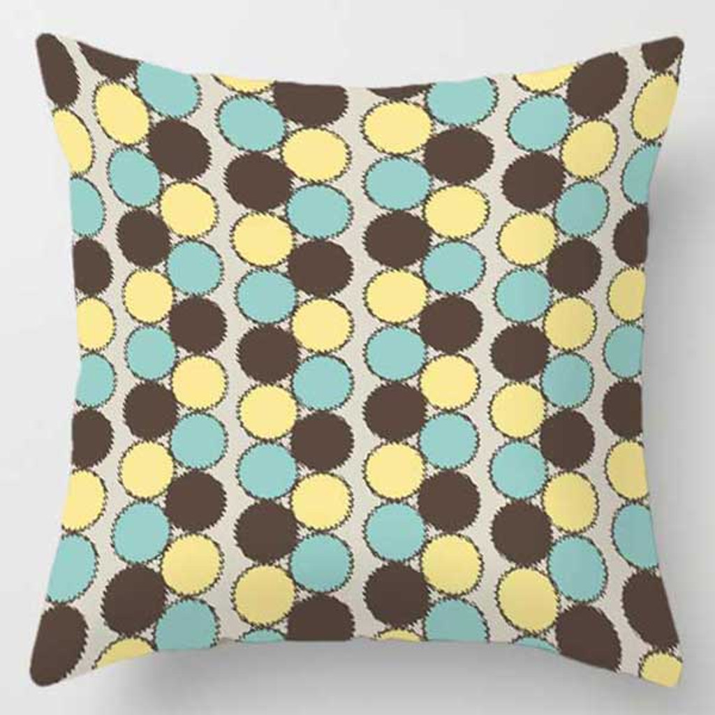 mint green, brow and yellow throw pillow