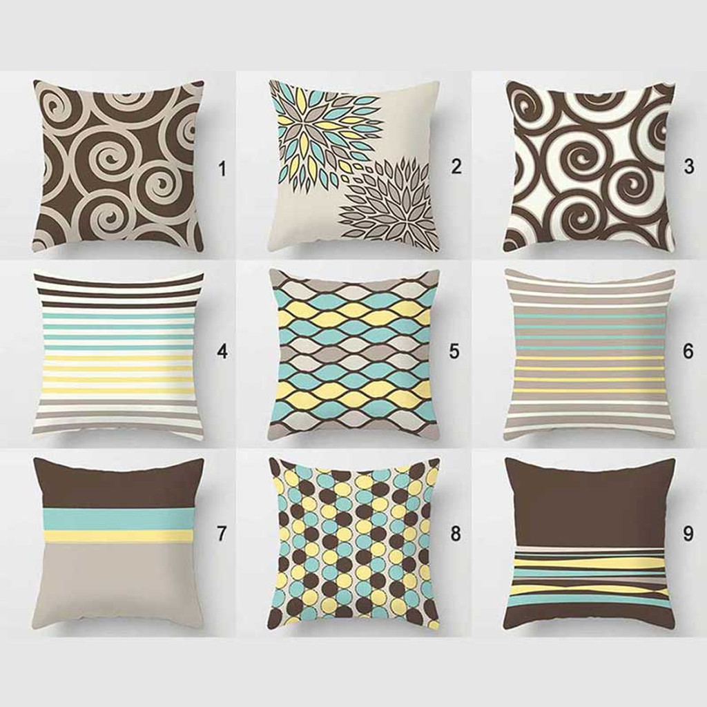 collection of designer pillow covers, brown, gray, mint green