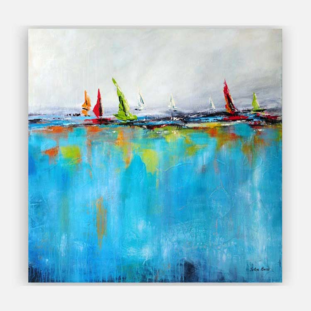large abstract painting, ocean and yacht art