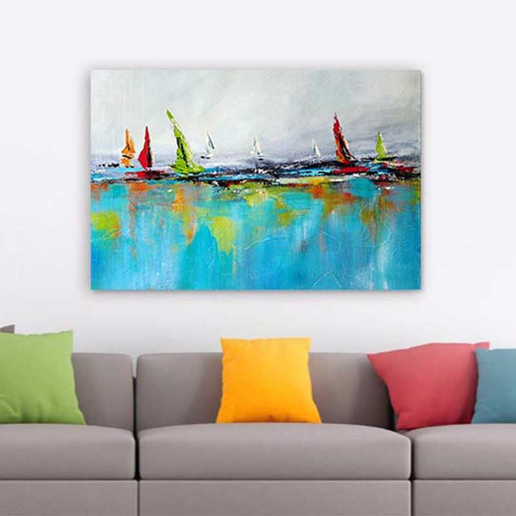 nautical wall art print, abstract seascape painting on the wall