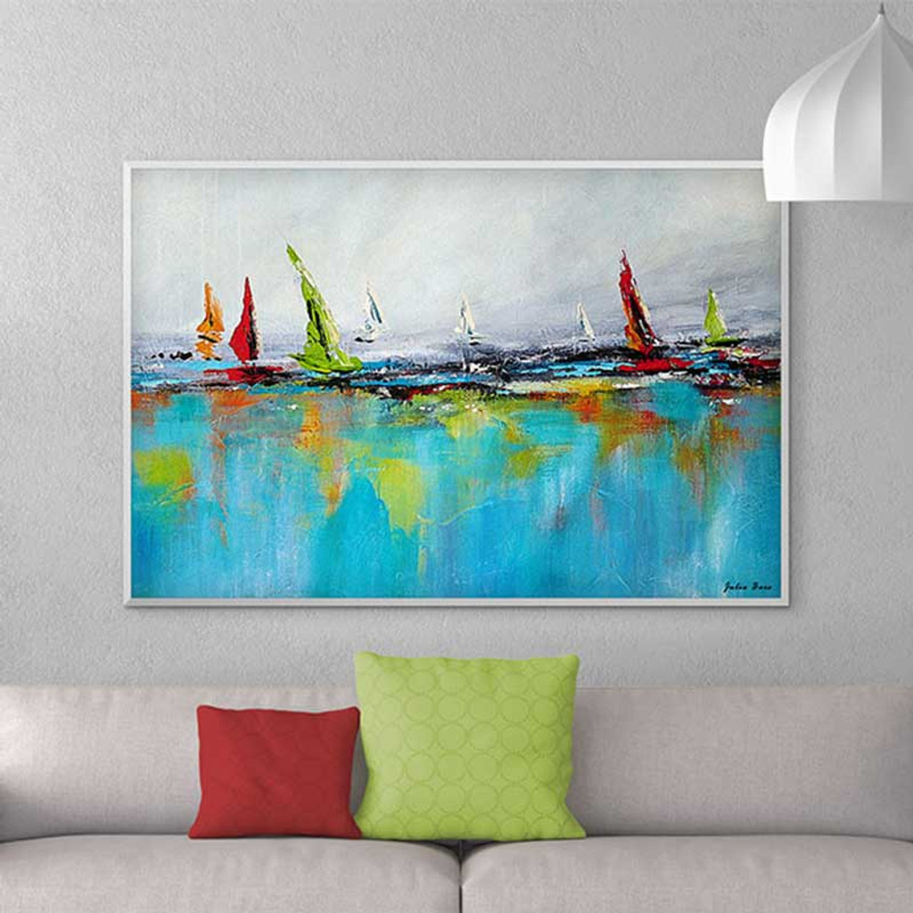 large abstract seascape painting, boat and yacht art