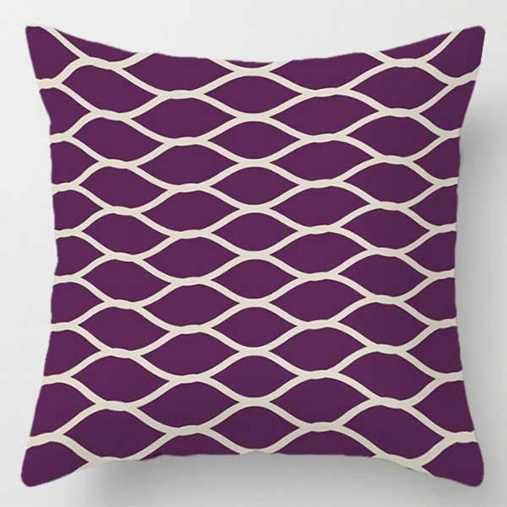 purple sofa pillow with net pattern